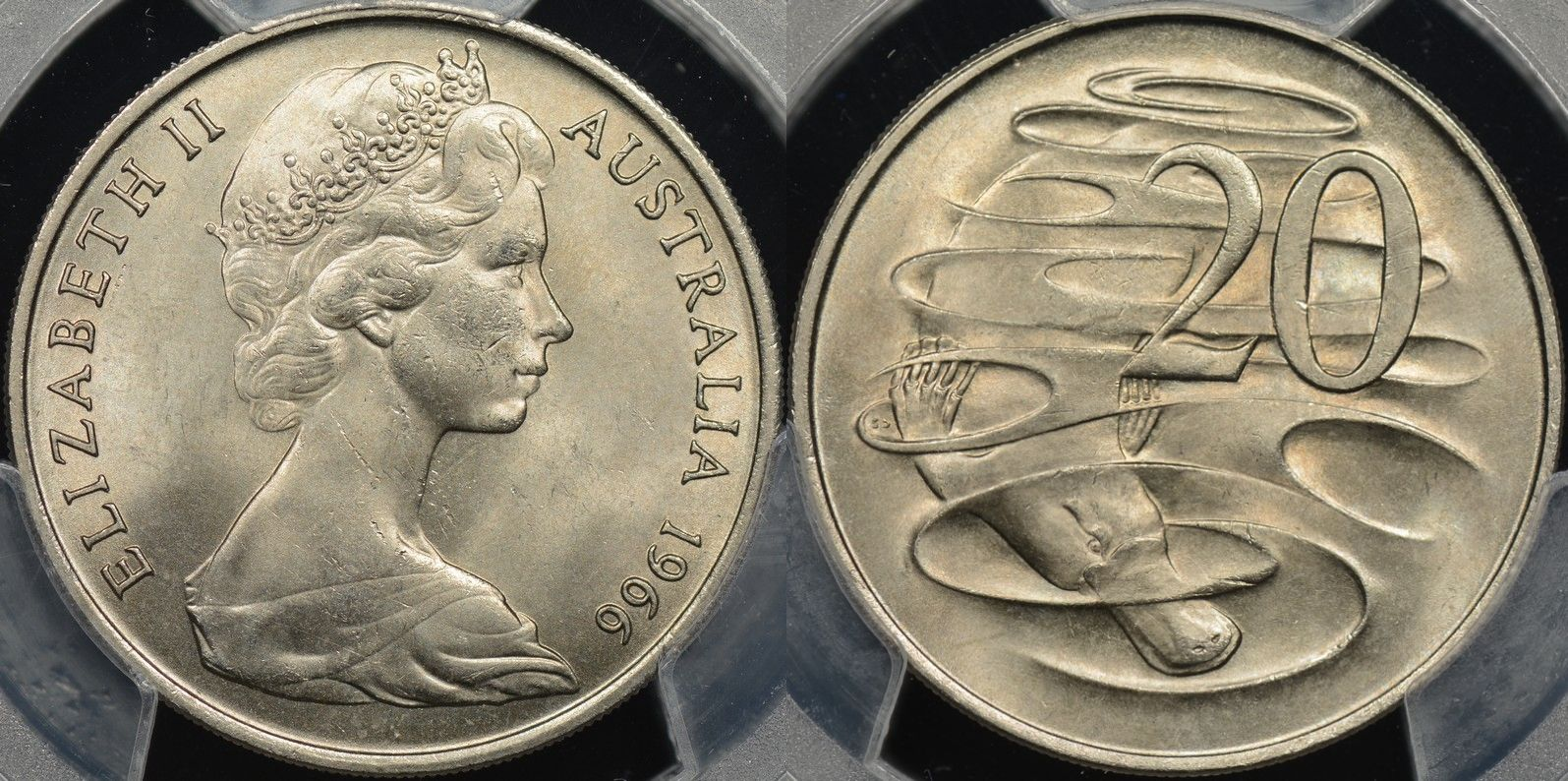 Australia 1966l wavy 2 variety 20 cent Choice Uncirculated PCGS MS64