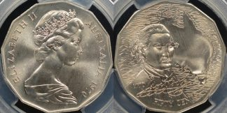 Australia 1970 captain cook 50 cent specimen PCGS SP67