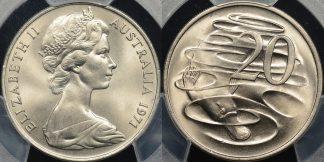 Australia 1971 20 cent GEM Uncirculated PCGS MS67