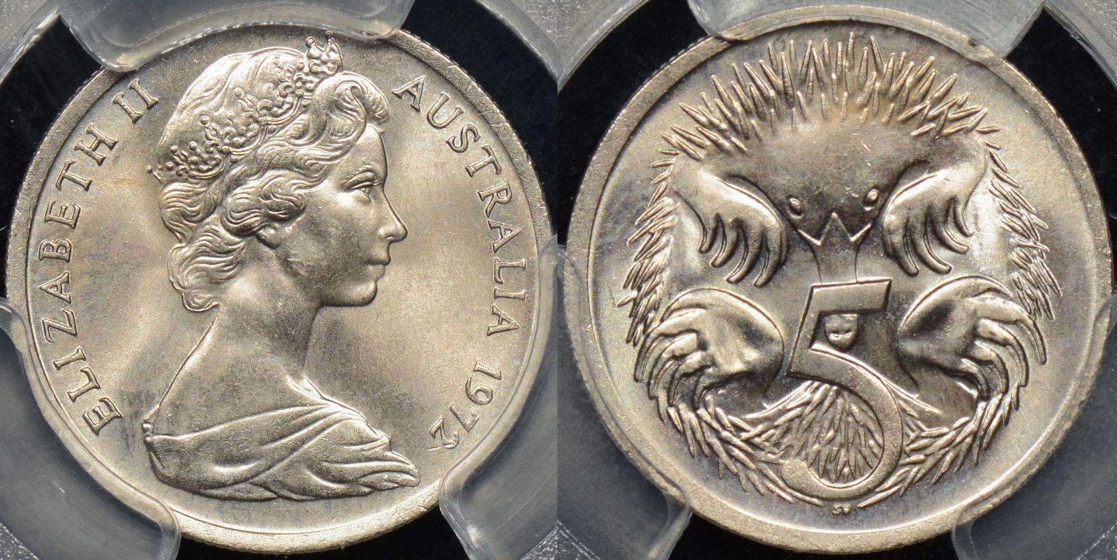 australian 1972 5 cent coin