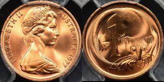 Australia 1977 1 cent GEM Uncirculated PCGS MS66rd