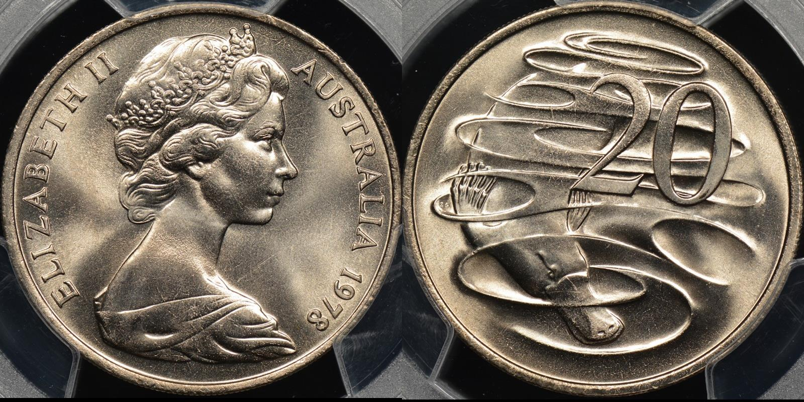 Australia 1978 20 Cent Gem Uncirculated Pcgs Ms65 The Purple Penny