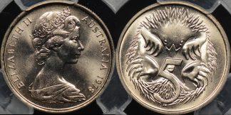 Australia 1978 5 cent GEM Uncirculated PCGS MS66