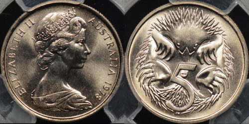 Australia 1978 5 cent GEM Uncirculated PCGS MS66