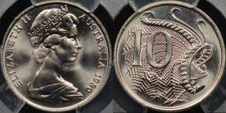 Australia 1980 10 cent GEM Uncirculated PCGS MS67