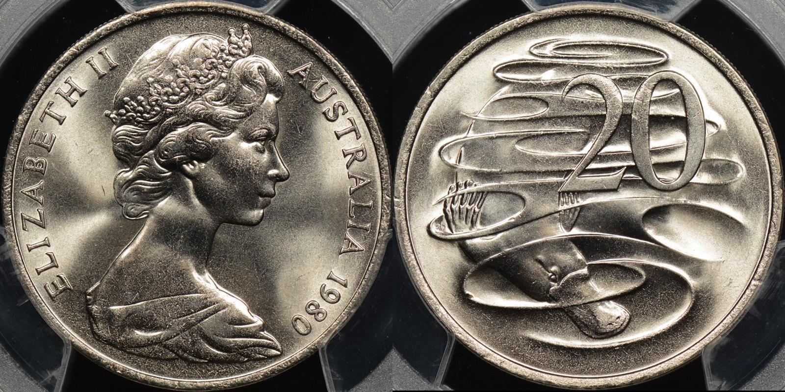 Australia 1980 20 cent GEM Uncirculated PCGS MS66