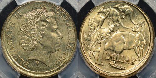 Australia 2005 mob of roos dollar 1 partial collar broadstrike error GEM Uncirculated PCGS MS65