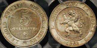 Belgium 1863 5 centimes PCGS MS65 GEM Uncirculated