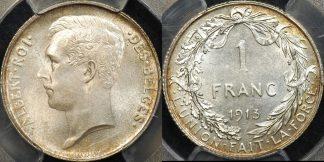 Belgium 1913 franc km 72 PCGS MS64 Choice Uncirculated