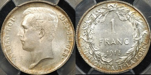 Belgium 1913 franc km 72 PCGS MS64 Choice Uncirculated