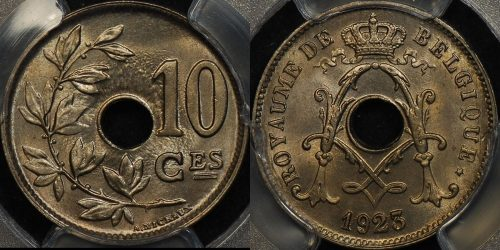 Belgium 1923 10 centimes km 85.1 PCGS MS65 GEM Uncirculated