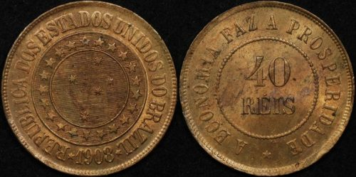 Brazil 1908 40 reis km 491 Uncirculated