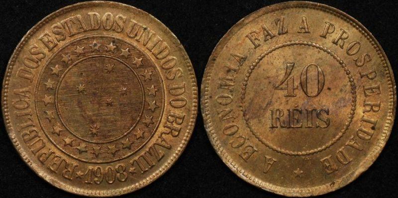 Brazil 1908 40 reis km 491 Uncirculated