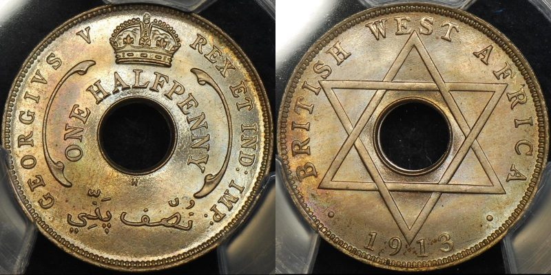 British west africa 1913 h halfpenny 1 2d km 8 PCGS MS66 GEM Uncirculated