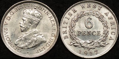 British west africa 1917 h sixpence 6d km 11 Uncirculated