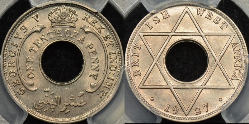 British west africa 1927 one tenth penny 1 10 d km 7 PCGS MS66 GEM Uncirculated