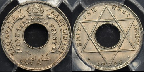 British west africa 1928 one tenth penny 1 1 d km 7 PCGS MS65 GEM Uncirculated