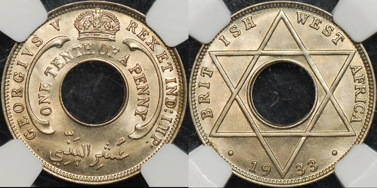 British west africa 1933 one tenth penny 1 1 d km 7 NGC MS65 GEM Uncirculated