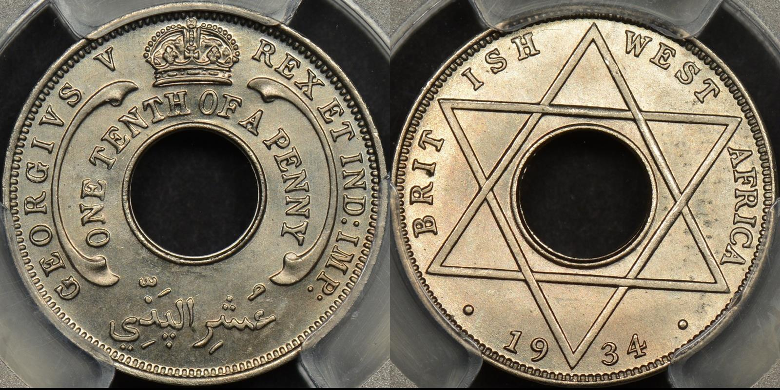 British west africa 1934 one tenth penny 1 10 d km 7 PCGS MS65 GEM Uncirculated