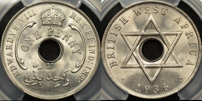British west africa 1936 kn penny 1d km 19 PCGS MS64 Choice Uncirculated