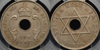 British west africa 1936 penny east africa 10 cent km 17 PCGS xf45 mule variety
