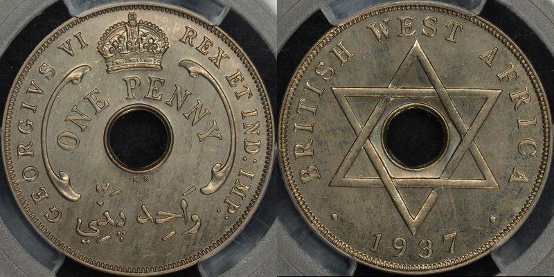 British west africa 1937 kn penny specimen km 19 PCGS SP66