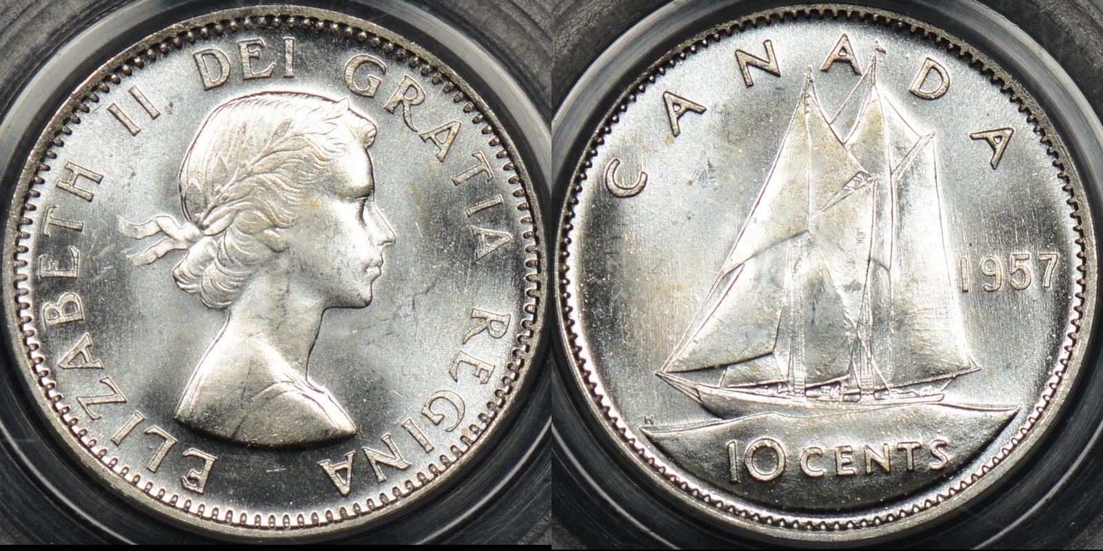Canada 1957 10 cent 10c km 51 PCGS MS64 Choice Uncirculated