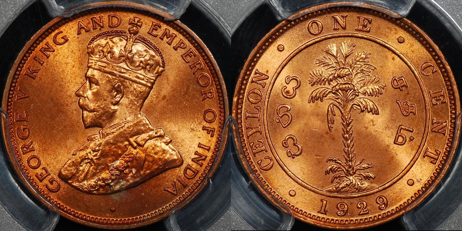 Ceylon 1929 cent km 107 PCGS MS64rd Choice Uncirculated