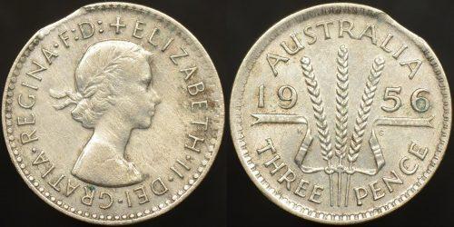 Clipped planchet error Australia 1956 threepence