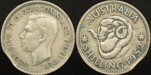 Clipped planchet error Australian 1952 shilling