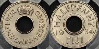 Fiji 1934 half penny 1 2d km 1 PCGS MS65 GEM Uncirculated