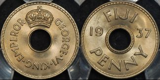 Fiji 1937 penny 1d km 7 PCGS MS65 GEM Uncirculated