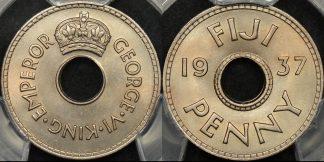 Fiji 1937 penny 1d km 7 PCGS MS66 GEM Uncirculated