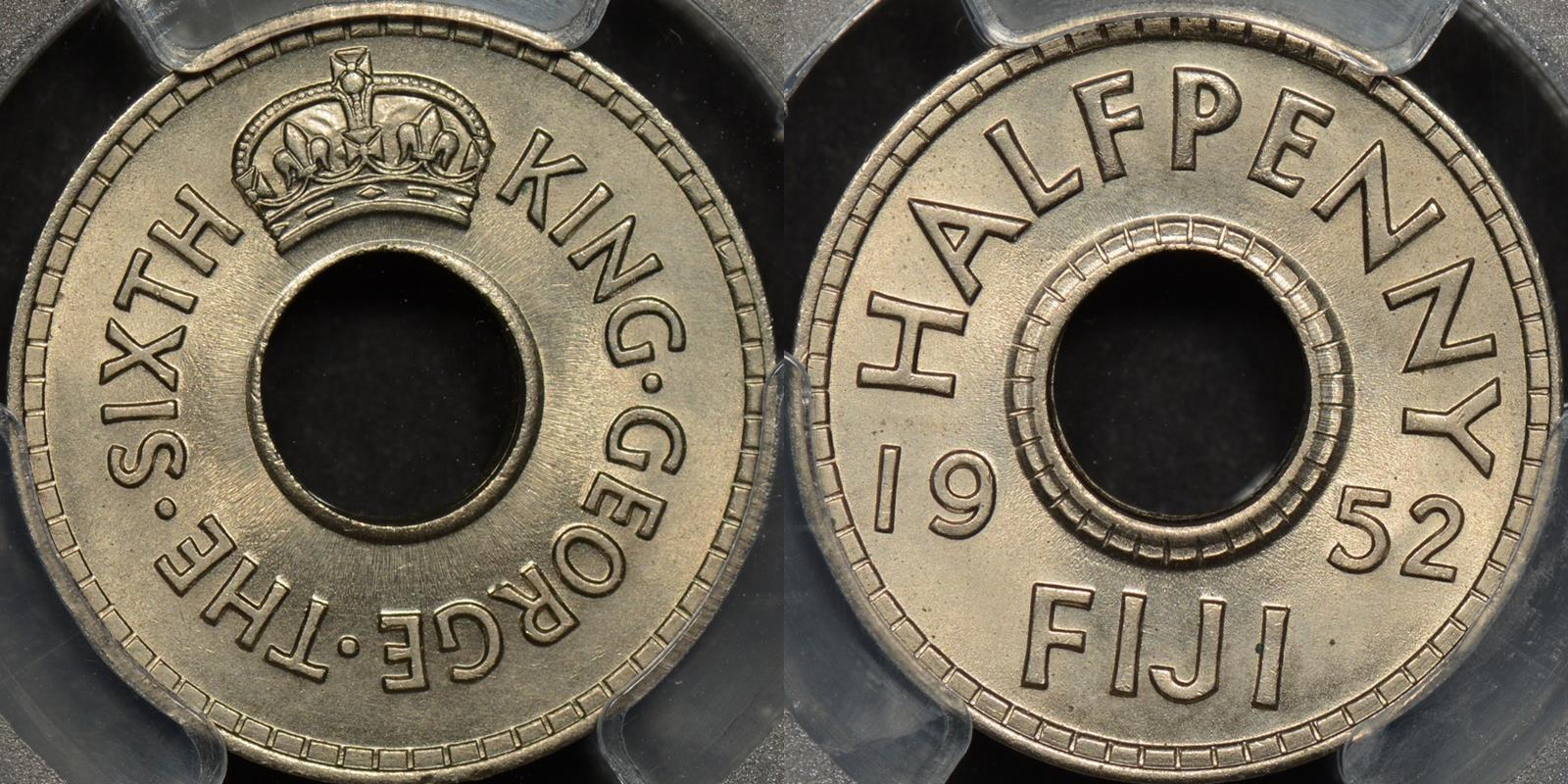 Fiji 1952 half penny 1 2d km 16 PCGS MS65 GEM Uncirculated