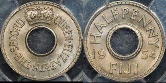 Fiji 1954 half penny 1 2d km 20 PCGS MS65 GEM Uncirculated