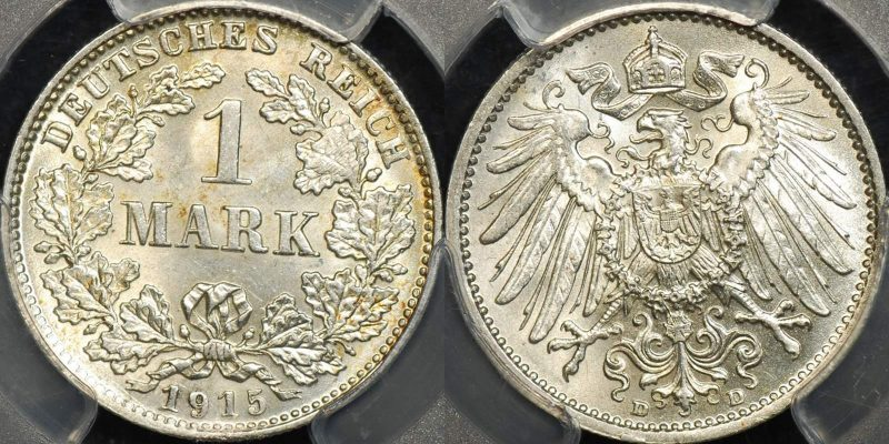 Germany empire 1915 d mark km 14 PCGS MS64 Choice Uncirculated