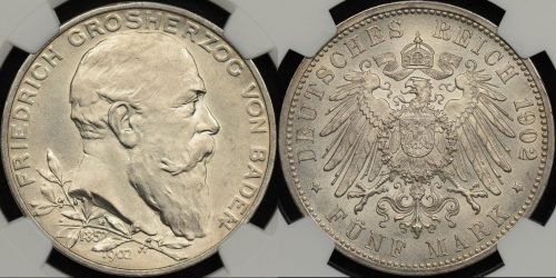 Germany german states baden1902 5 mark km 273 NGC MS63 Choice Uncirculated