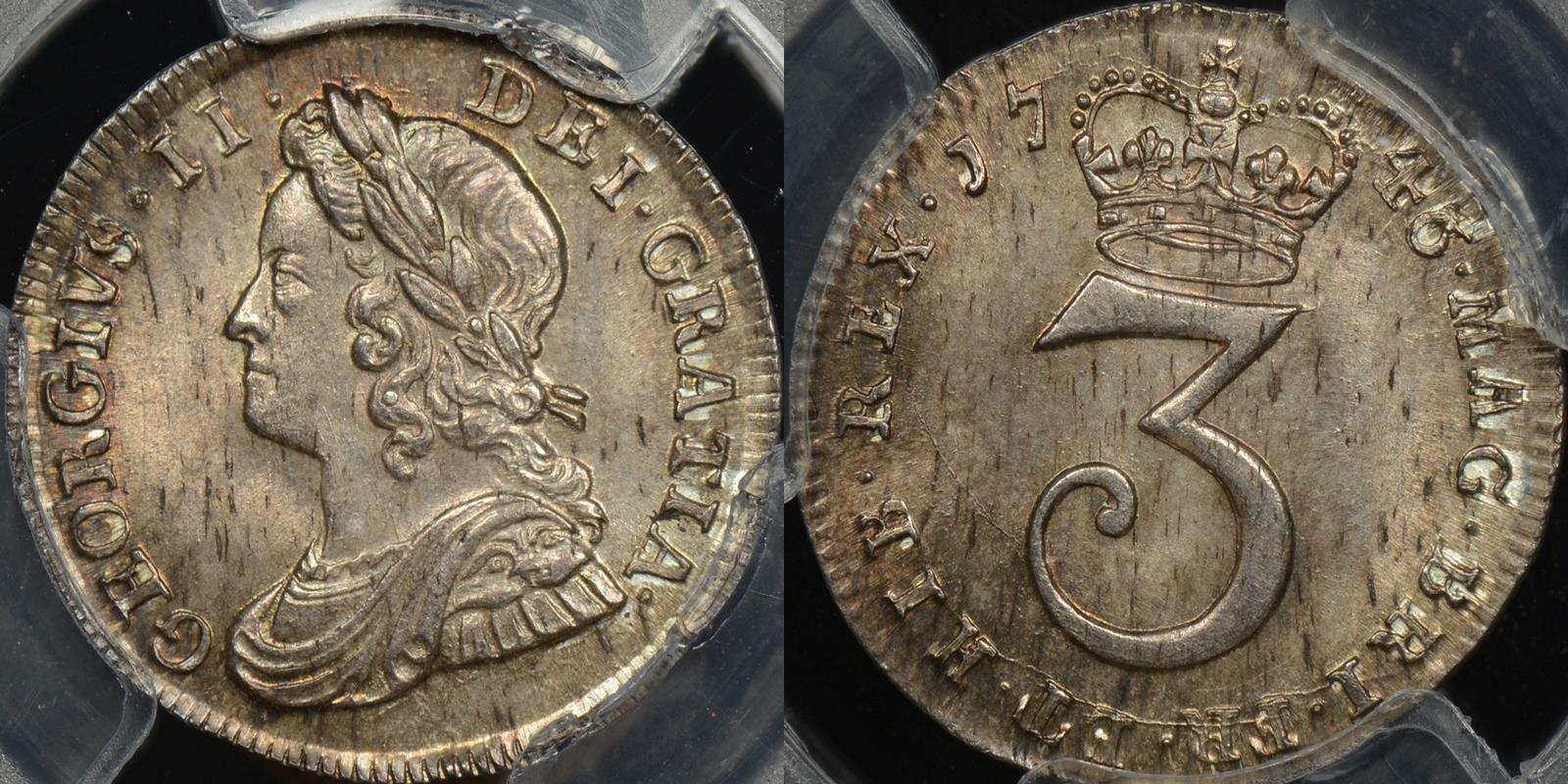 Great britain 1746 3 threeence 3d km 569 PCGS MS65 GEM Uncirculated