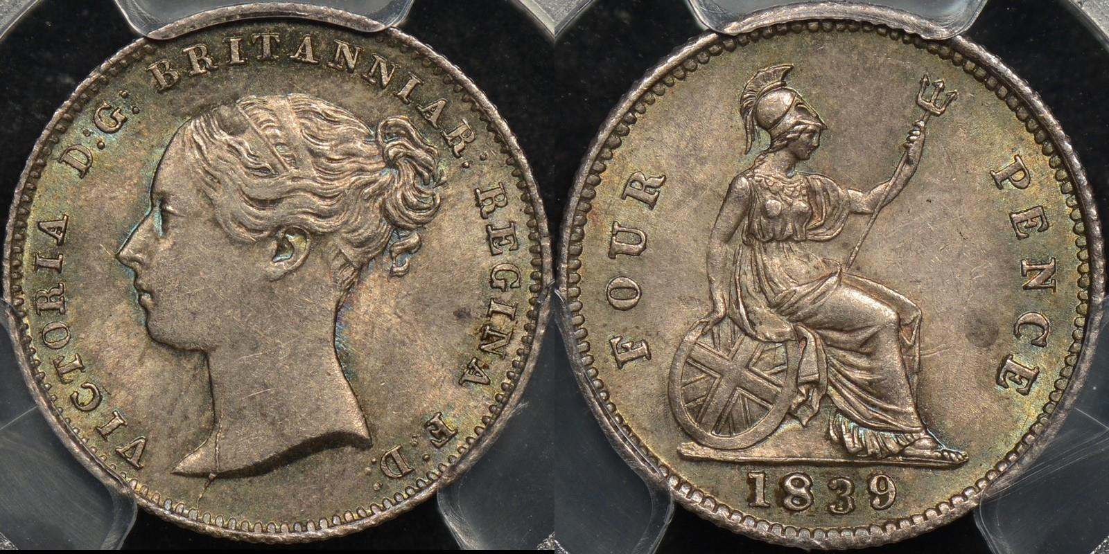 Great britain 1839 fourpence 4d km 731.1 PCGS MS62 Uncirculated