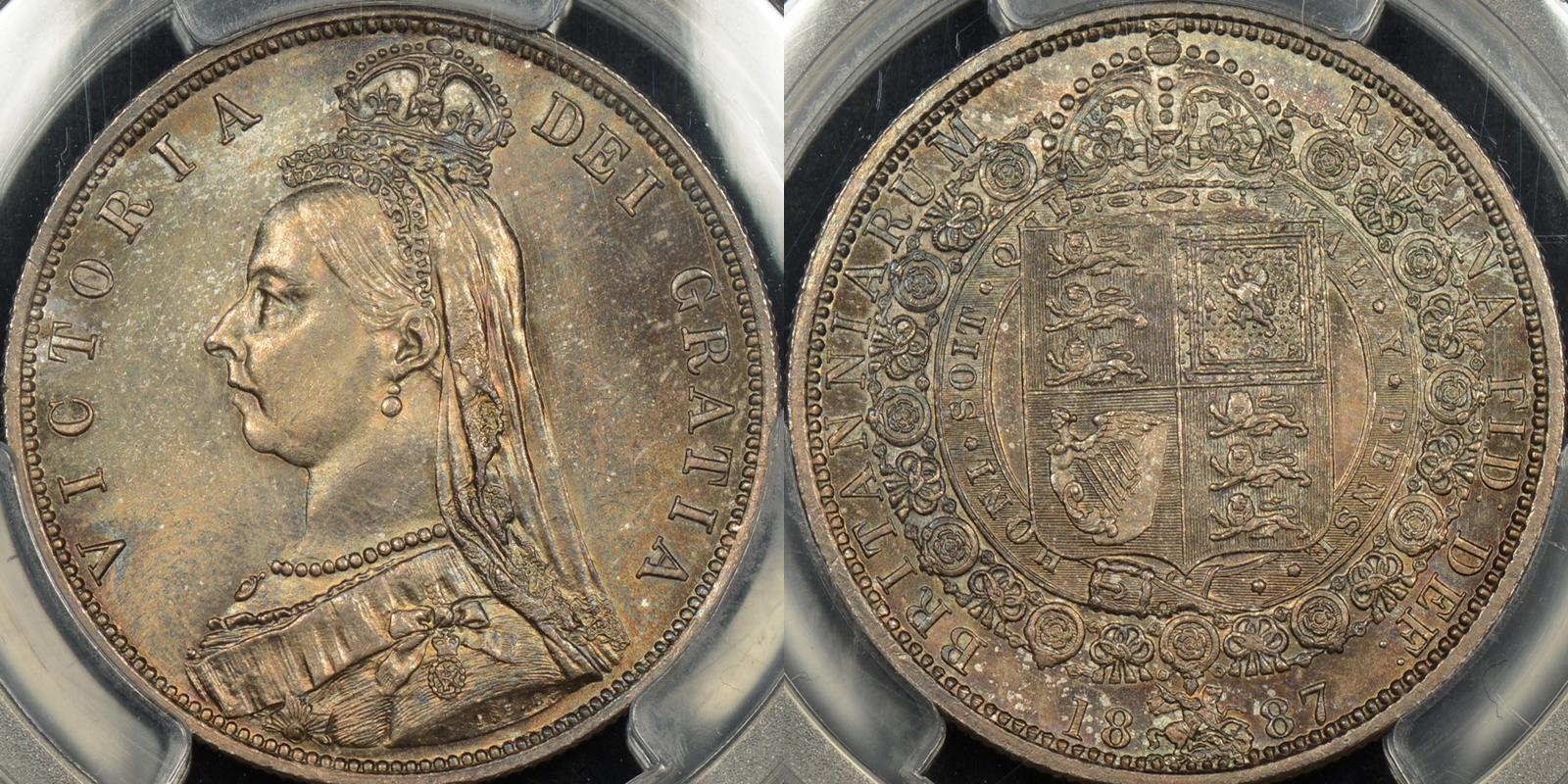 Great britain 1887 half crown 1 2 cr km 764 PCGS MS66 GEM Uncirculated