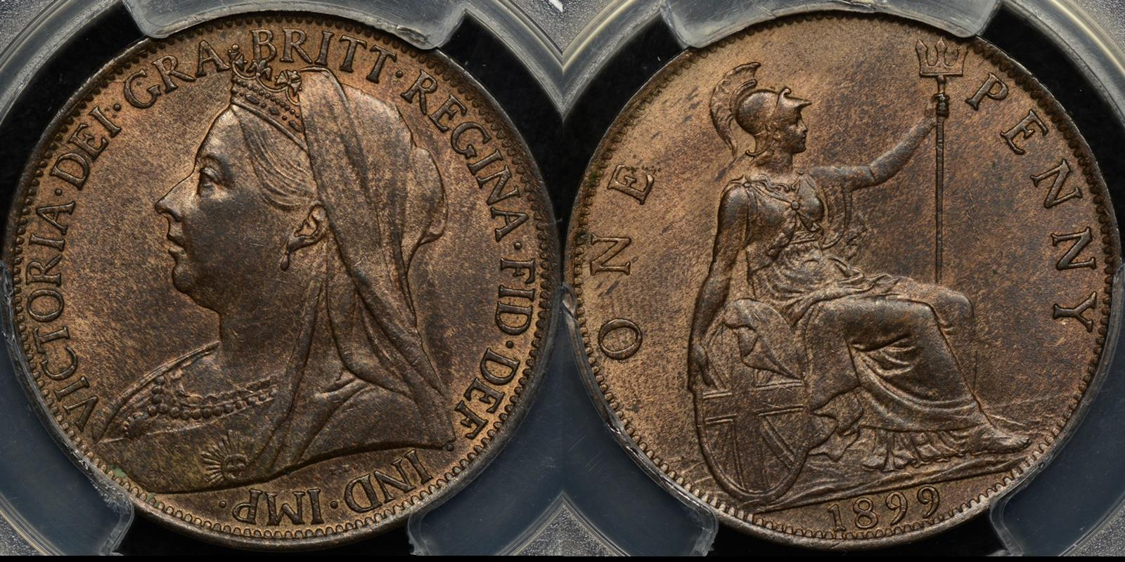 Great britain 1899 penny 1d km 790 PCGS MS64rb Choice Uncirculated
