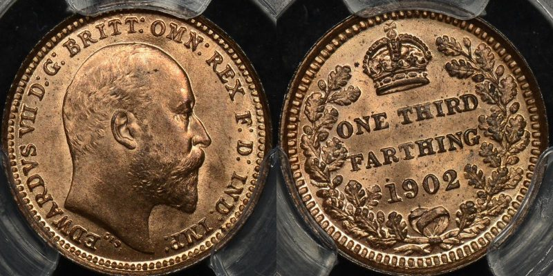 Great britain 1902 1 3rd farthing km 791 PCGS MS65rb GEM Uncirculated