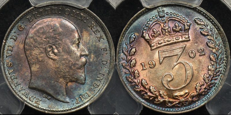 Great britain 1902 threepence 3d maundy km 797.1 PCGS pl64 prooflike
