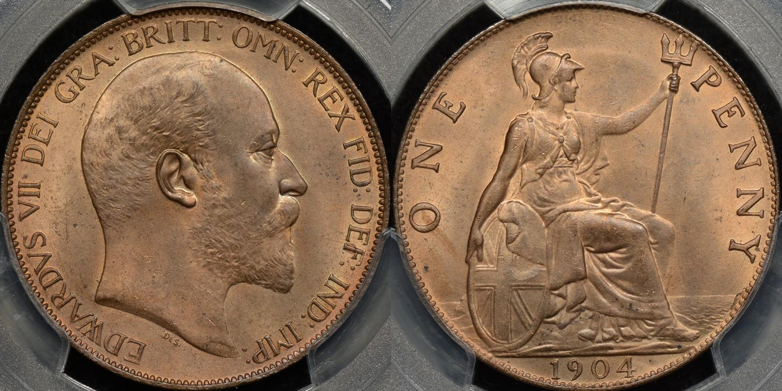 Great britain 1904 penny 1d km 794.2 PCGS MS65rb GEM Uncirculated