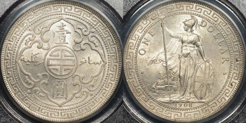 Great britain 1908 b trade dollar 1 km t5 PCGS MS64 Choice Uncirculated