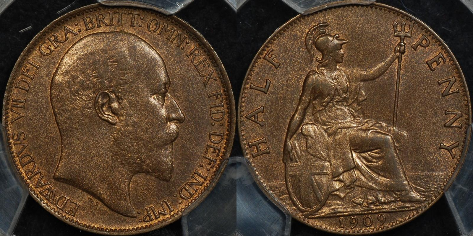 Great britain 1909 halfpenny 1 2d km 793.2 PCGS MS64rb Choice Uncirculated