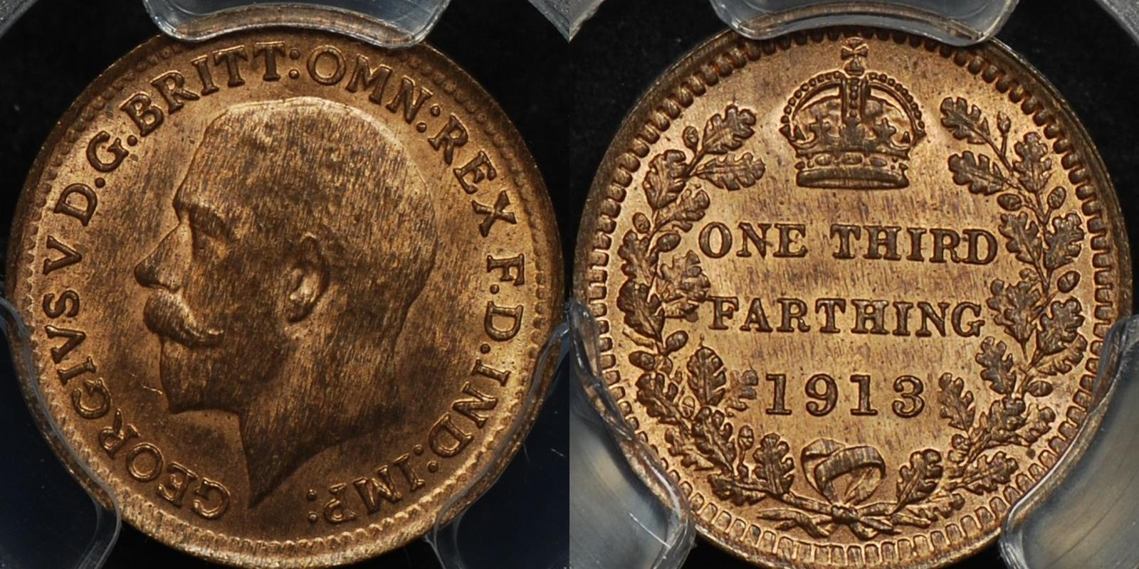 Great britain 1913 1 3rd farthing km 823 PCGS MS65rb GEM Uncirculated