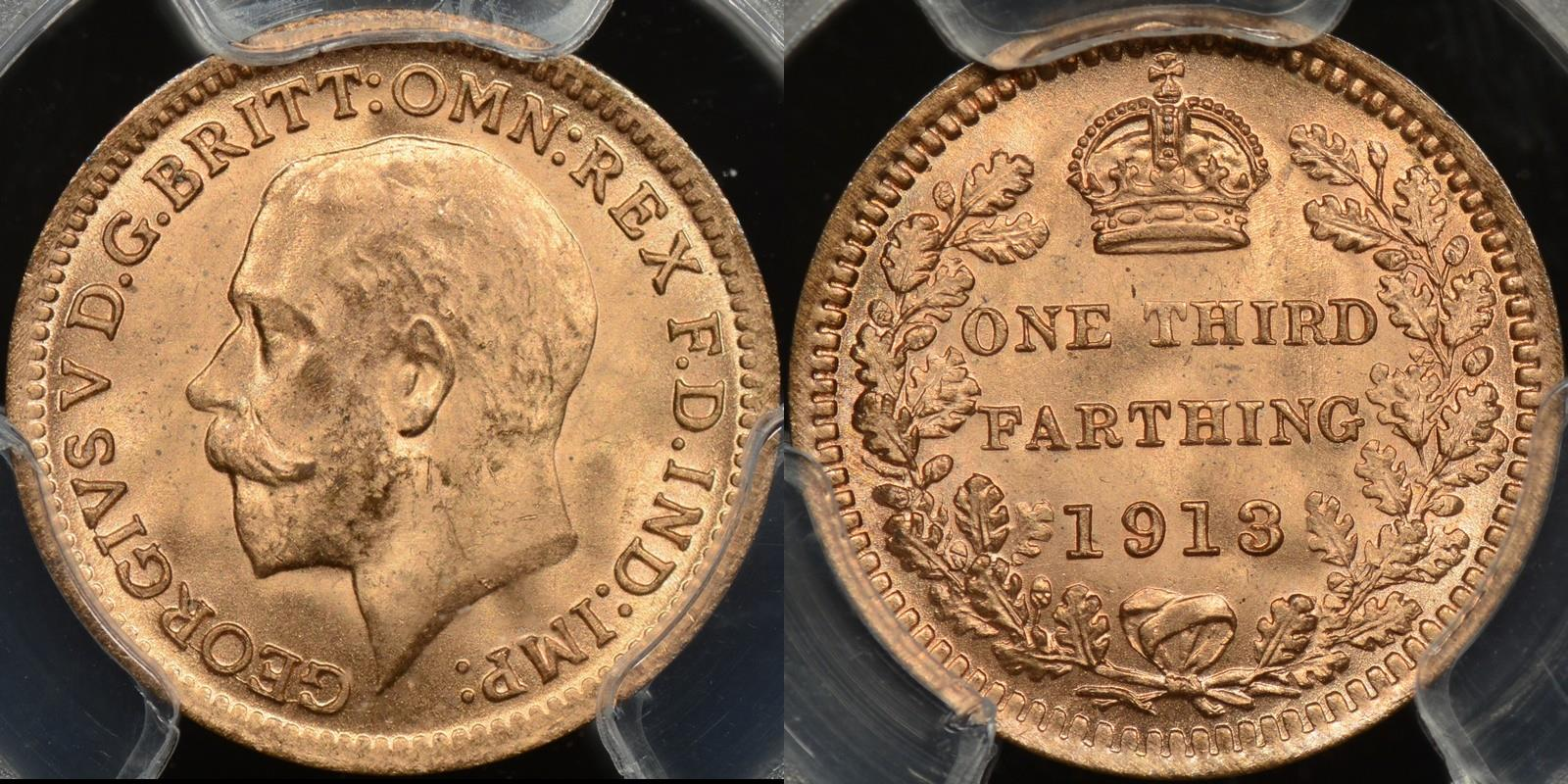 Great britain 1913 1 3rd farthing km 823 PCGS MS66rd red GEM Uncirculated