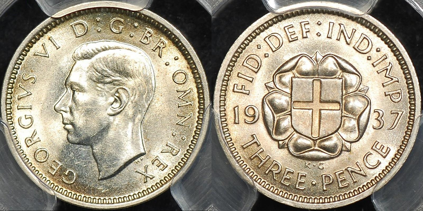 Great britain 1937 threepence 3d km 848 PCGS MS64 Choice Uncirculated