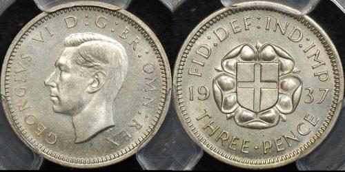 Great britain 1937 threepence 3d km 848 PCGS PR64 proof